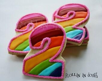 Rainbow Cookie Favors, Rainbow Number Cookie Favors, Rainbow Birthday Cookie Favors - 1 Dozen