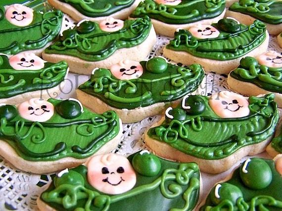 Sweet Pea Cookies, Pea Pod Cookies, Sweet Pea Baby Shower Cookies, Sweet Pea, Pea Pod, Baby Shower