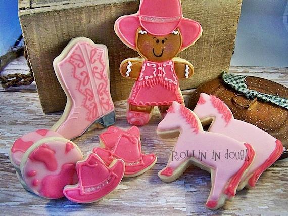 Western Cowgirl Cookies - Pink - 1 Dozen
