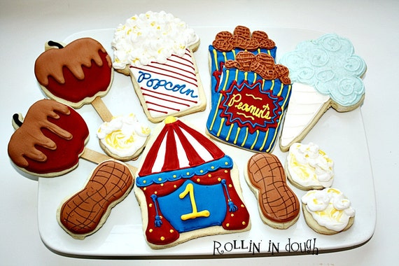 Circus Cookies, Carnival Cookies, Circus Tent, Peanuts, Popcorn, Candy Apple, Cotton Candy - 1 Dozen