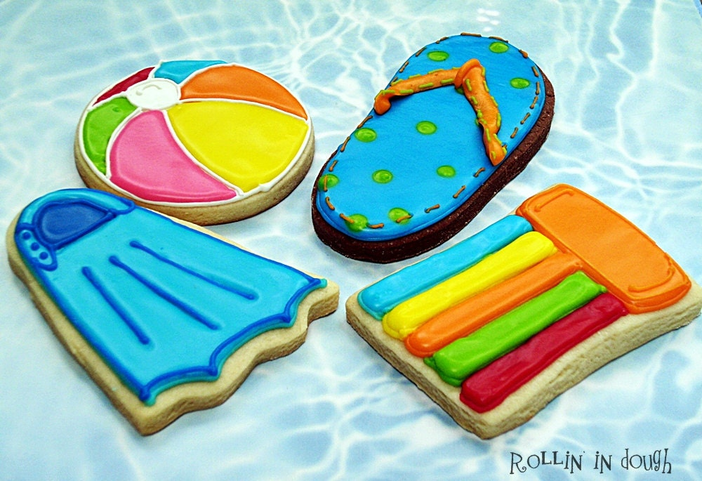 pool party cookie favors swimming theme cookies beach theme