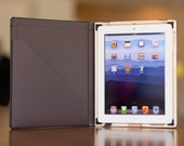 The Octavo for iPad 4/3/2 Moleskin Style Hard Case w/POCKET - Onyx Black with French Roast Interior
