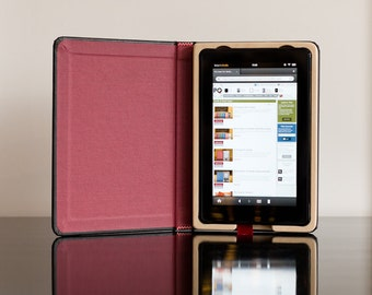SALE - The Fire Keeper Case for Kindle Fire - Onyx Black with Cranberry Red Interior WITH POCKET