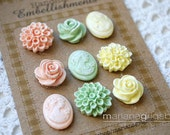 Polymer Clay Embellishments Combo (Chrysanthemums, Roses and Cameos) (Pastels PE-MG-Y)