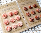Reserved for Darlene Eng only (Polymer Clay Chrysanthemums-Peach &  Roses-Saddleback Brown)