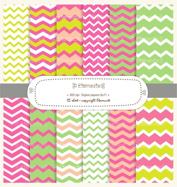 80% SALE, digital paper pack, chevron digital paper scrapbooking , Summer pink and green  E- 073