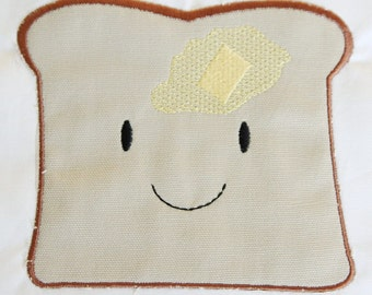 INSTANT DOWNLOAD Kawaii Happy Toast machine applique design