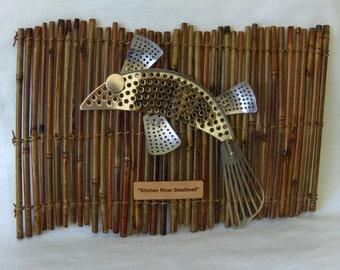 Junk Art -Assemblage-Kitchen River Steelhead-Fish-Found Object Robot