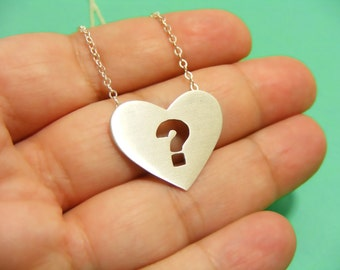 Heart pendant , Heart necklace , Question mark Pendant , Question mark necklace.