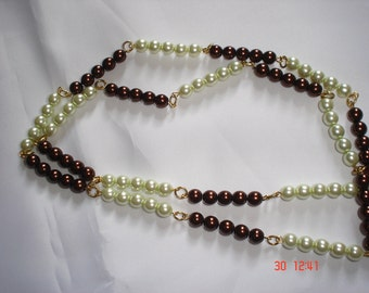Green & Chocolate Glass Pearl Necklace