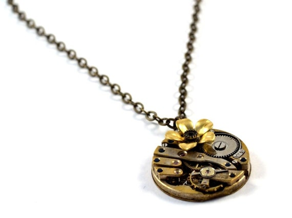 Steampunk Necklace, Flower, Steampunk Pendant