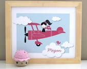 Airplane Girl with Name 8x10 Nursery Children's Art Print