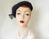 vintage 40s hat, navy blue, upturned brim, white flowers