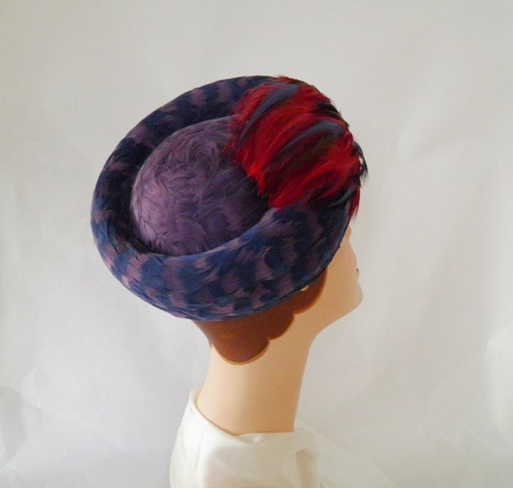 1960s feather hat, vintage 60s toque,  lavender, red, blue