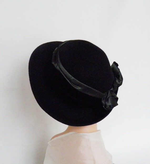 vintage breton hat, Da-Me made in Italy, black felt, satin, velvet