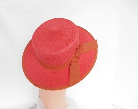 Red boater tilt hat, 1960s picture hat