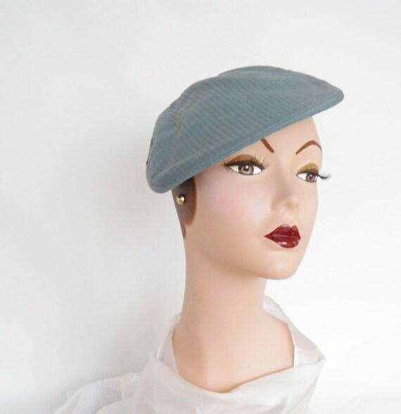 vintage 1950s  hat, stewardess beret tilt, Marie Hanauer