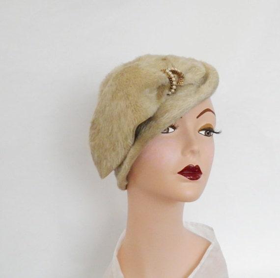 Tilt slouch hat, faux fur, vintage 40s/50s