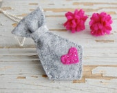 Felt tie necklace pendant charm gray with hot pink heart stitched -  gift for her -THE TIE tHAT BINDS