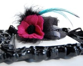 Mini top hat black felt with feathers, tulle,  ribbon and glitter felt fuchsia flower