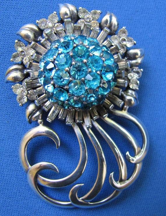 Exquisite Pennino Sunburst Brooch Pendant.  Sterling Silver Capri Blue Rhinestones. Huge Dimensional.  Vintage American Costume Jewelry 1940