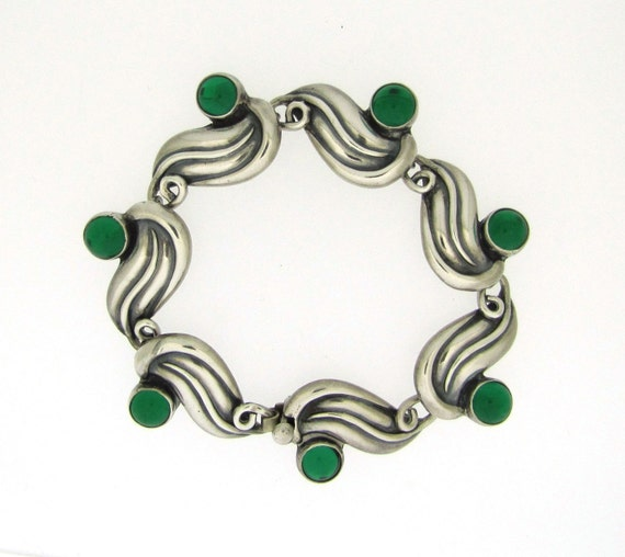 Taxco Gerardo Lopez Modernist Sterling Silver Bracelet. Emerald Green Glass Cabochons. Mid Century Mexican Silver 1950. Eagle Mark 26.
