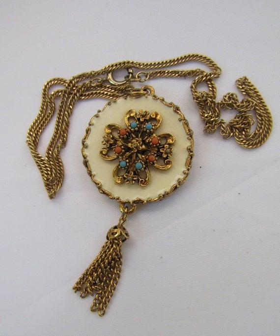 LJM  Ivory Coral & Turquoise Pendant Necklace