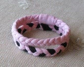 2 Braided Bracelets -  t-shirt fabric bracelets - black and pink