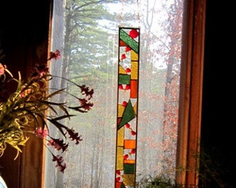 Sparkling STAINED GLASS PANEL gift abstract glass art suncatcher for your home or garden
