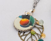 The Orange Tree - Cloisonne Enamel Necklace with Gemstones OOAK