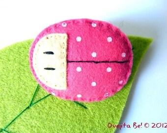 Pink ladybug felt brooch