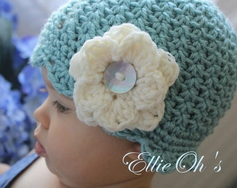 Seafoam Swirled Scalloped Beanie - or choose size and colors