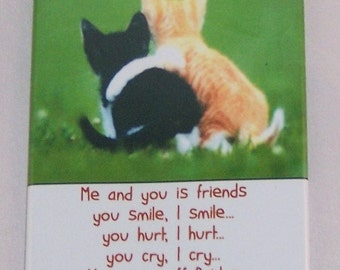 A very funny cat refrigerator magnet (me and you is friends)