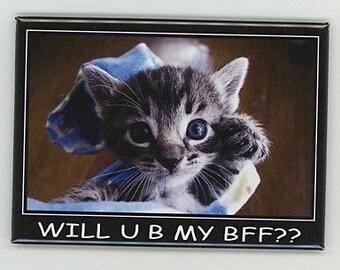 "A very funny refrigerator magnet  ""Will U B My BFF"""