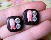 Shrimp and Cucumber Roll Sushi Earrings by Coryographies
