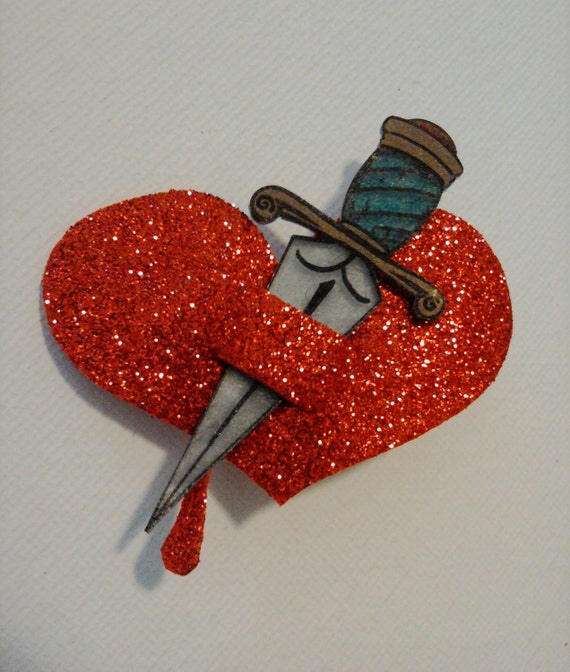heart and dagger hair clip