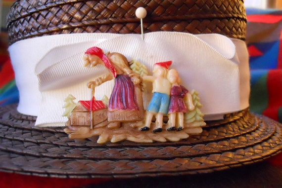 RESERVED - S A L E - 1940s / 1930s Celluloid Storybook Pin - Hansel and Gretel - 30s / 40s Brooch
