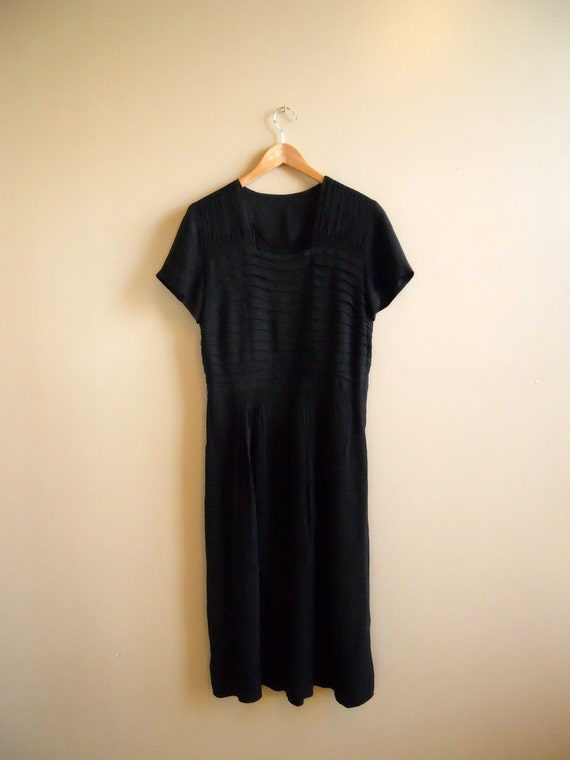 1930s / 1940s Semi-sheer Black Dress - LBD