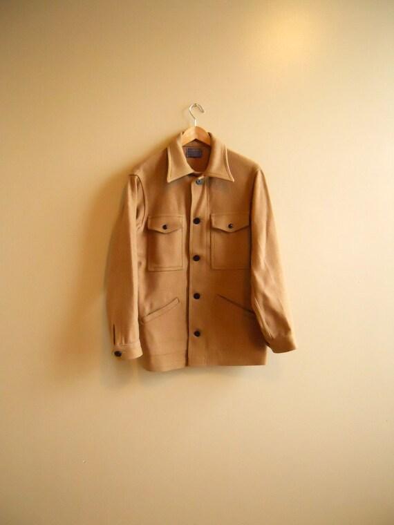 1970s/70s Pendleton Cruiser, Chore Jacket in Tan, Camel Wool