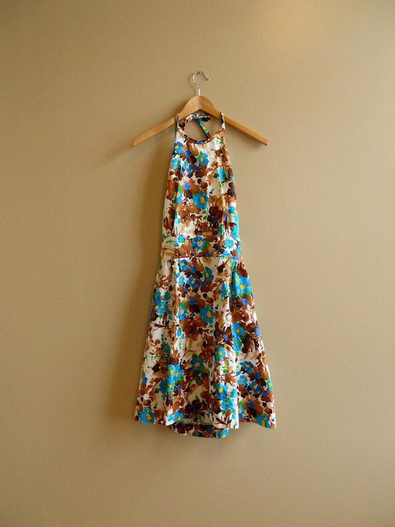 1970s / 1980s Backless Floral Halter Dress