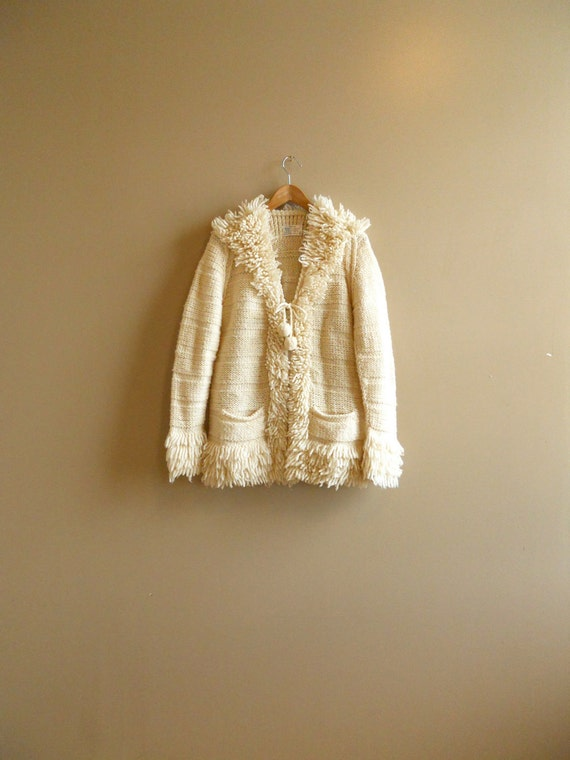 RESERVED -- Creamy White Wool Sweater Coat with Shaggy Collar and Cuffs