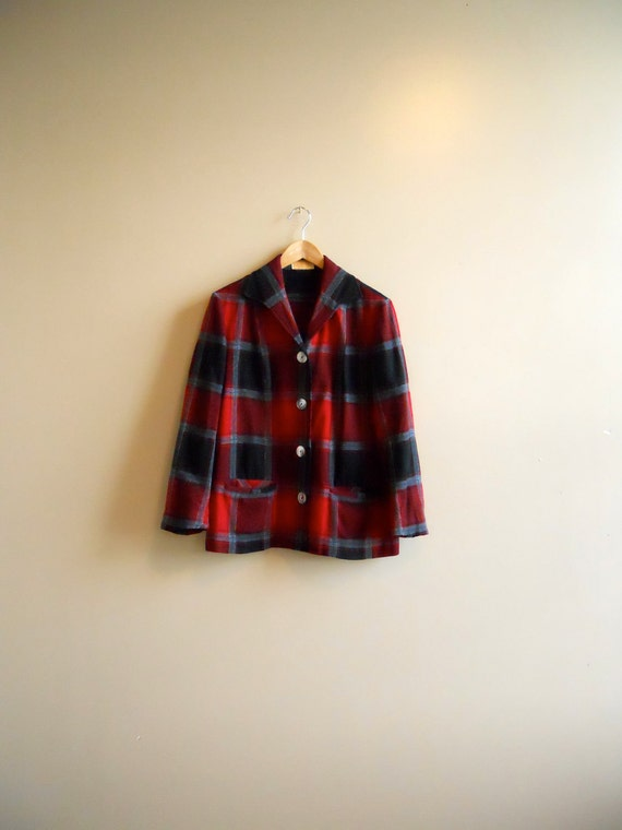 RESERVED - 1950s / 50s Wool Pendleton 49er Jacket - Red, Black, Charcoal Plaid