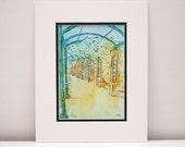 Garden Art Print - 11x14 with mat, garden walkway, outdoors, green, yellow, architectural art, home decor, office decor