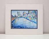 Philadelphia Art Print - Urban art, contemporary art, abstract art, colorful, skyline, city, 11x14 with mat
