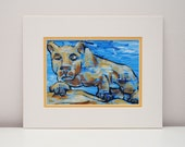 Penn State Lion print - 11x14 with mat, PSU, Penn State art, Penn State painting, Nittany lion, blue, white