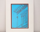 Turquoise and Red Architecture Print - abstract art, architectural print, Washington, DC, home decor, office decor, 11x14 with mat