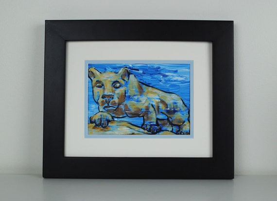 Penn State Lion print - PSU, Penn State art, Penn State painting, Nittany lion, blue, white, 8x10 with mat