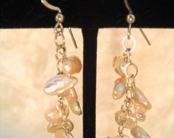 Creamy White Keishi Pearl Earrings