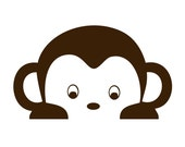 Custom Peeking Pop Monkey Wall Decal -  removable vinyl sticker