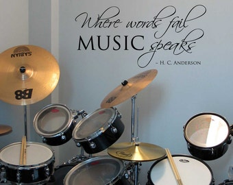 LARGE Where words fail Music Speaks - Wall Decal - Removable Vinyl Lettering